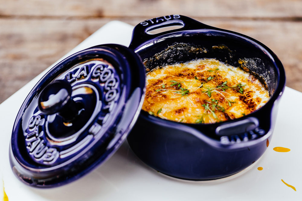 Recipe image of a potato gratin in Staub cookware