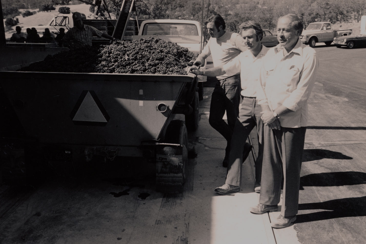 Historical image of Joe Phelps during the 1974 Napa Valley Joseph Phelps harvest