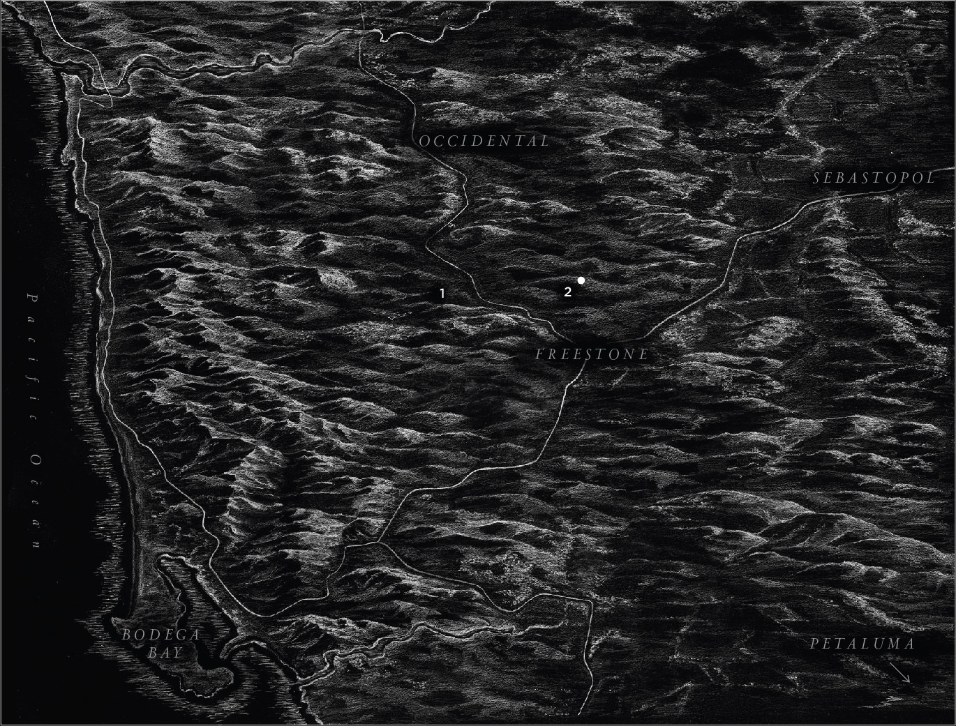 black and white map of the Sonoma Coast showing the two Joseph Phelps vineyards